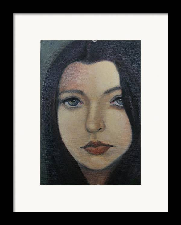 Girl Framed Print featuring the painting That Stare by Toni Berry