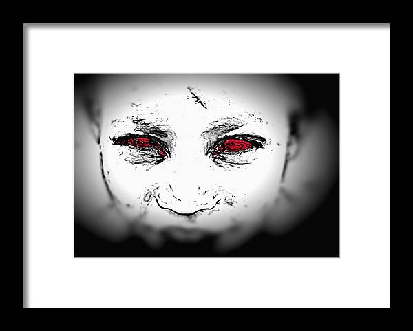 Eyes Face Looks Black And White Red Framed Print featuring the digital art Untitled by Veronica Jackson