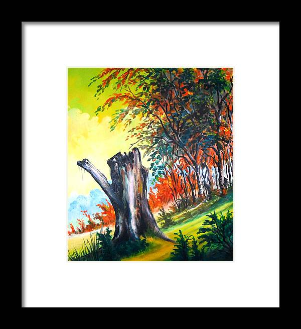 Landscape Framed Print featuring the painting Verde Que Te Quero Verde by Leomariano artist BRASIL