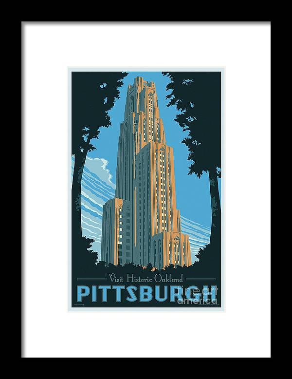 Pittsburgh Framed Print featuring the digital art Pittsburgh Poster - Vintage Style by Jim Zahniser