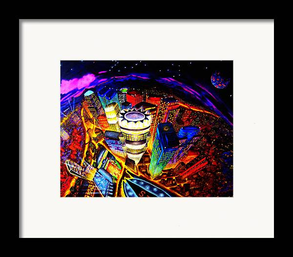 Cityscapes Framed Print featuring the painting Vorticity II by Chris Haugen