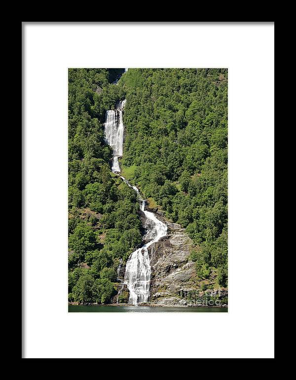 Waterfall Framed Print featuring the photograph Waterfall In Geiranger Norway by Arild Lilleboe