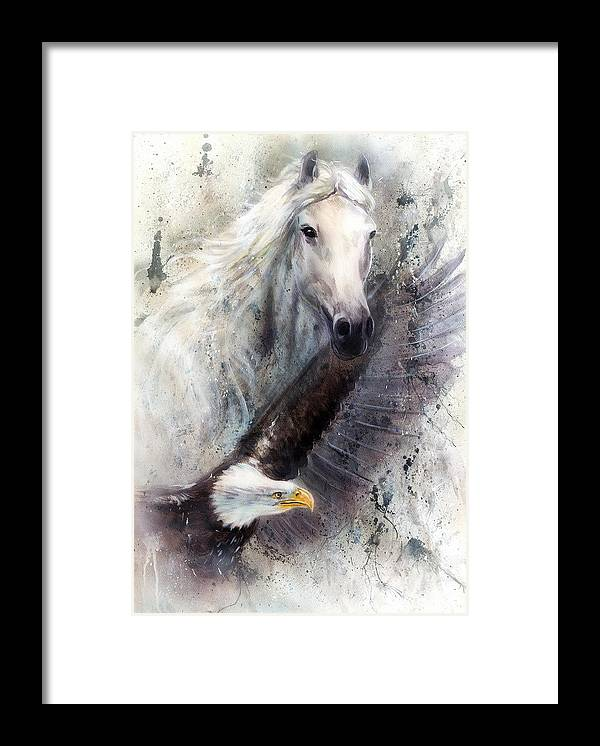Art Framed Print featuring the painting White Horse With A Flying Eagle Beautiful Painting Illustration by Jozef Klopacka