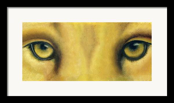 Lion Eyes Framed Print featuring the painting Whos Watching Who by Darlene Green