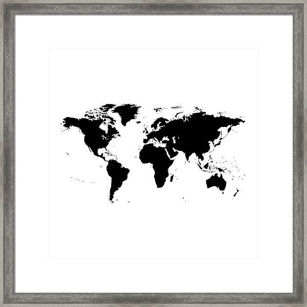 Black And White World Map Framed.World Map Black And White Framed Print By Marianna Mills
