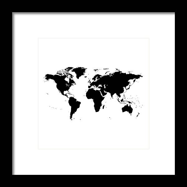 Black And White World Map Framed.World Map Black And White Framed Print By Marianna Mills