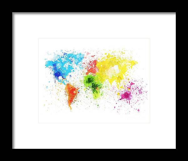 World map painting framed print by setsiri silapasuwanchai adventure framed print featuring the painting world map painting by setsiri silapasuwanchai gumiabroncs Gallery