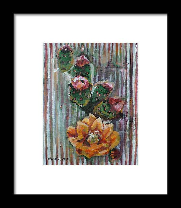Cactus Framed Print featuring the painting Yellow Cactus Blossom by Aleksandra Buha