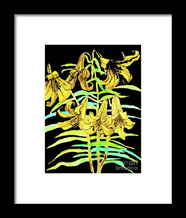 Flower Framed Print featuring the painting Yellow Lilies, Hand Drawn Painting by Irina Afonskaya