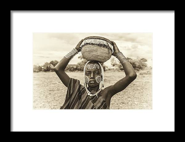 Mago Framed Print featuring the photograph Young Boy From The African Tribe Mursi, Ethiopia by Miroslav Liska