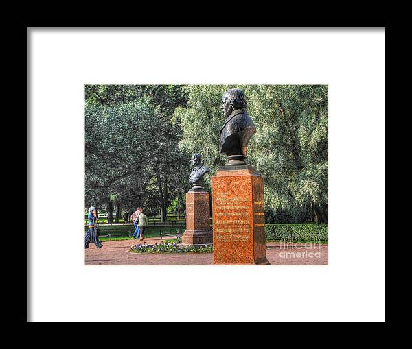 Yury Bashkin Framed Print featuring the pyrography Yury Bashkin Garden Peterburg by Yury Bashkin