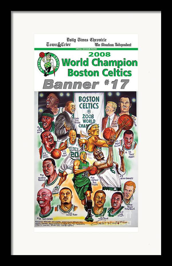 Nba Framed Print featuring the drawing 2008 Boston Celtics Team Poster by Dave Olsen