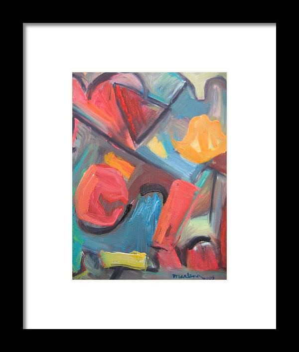 Abstract Framed Print featuring the painting 2009 Autumn In New York by Marlene Robbins