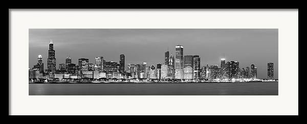 Chicago Framed Print featuring the photograph 2010 Chicago Skyline Black And White by Donald Schwartz