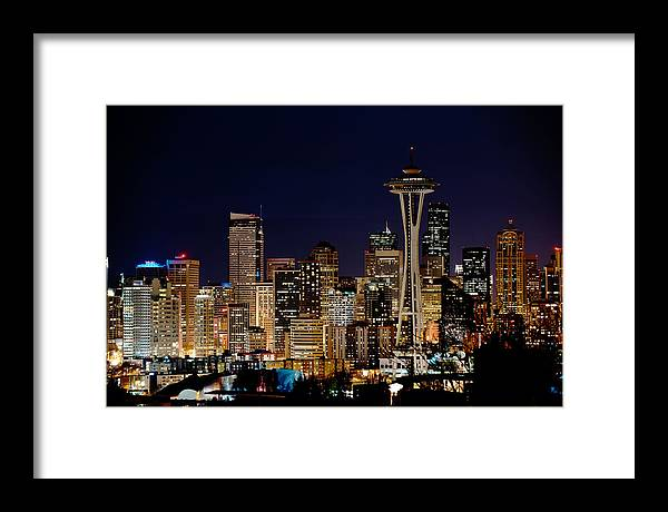 Seattle Framed Print featuring the photograph 2010 Seattle Earth Hour A350 by Yoshiki Nakamura