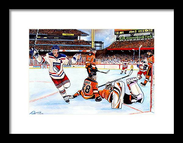 New York Rangers Framed Print featuring the painting 2012 Bridgestone-nhl Winter Classic by Dave Olsen