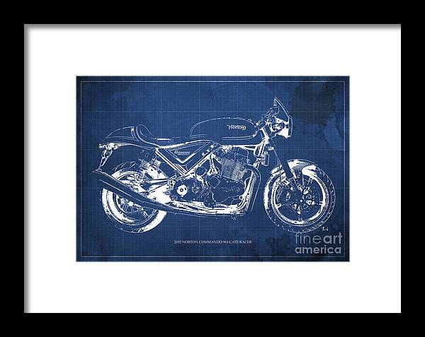 2012 norton commando 961 cafe racer motorcycle blueprint blue 2012 framed print featuring the painting 2012 norton commando 961 cafe racer motorcycle blueprint blue malvernweather Images