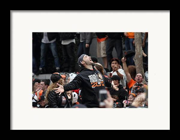 Sport Framed Print featuring the photograph 2012 San Francisco Giants World Series Champions Parade - Marco Scutaro - Dpp0008 by Wingsdomain Art and Photography