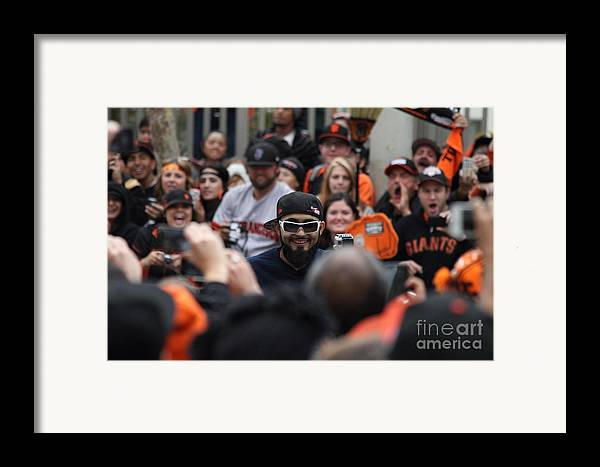 Sport Framed Print featuring the photograph 2012 San Francisco Giants World Series Champions Parade - Sergio Romo - Dpp0007 by Wingsdomain Art and Photography