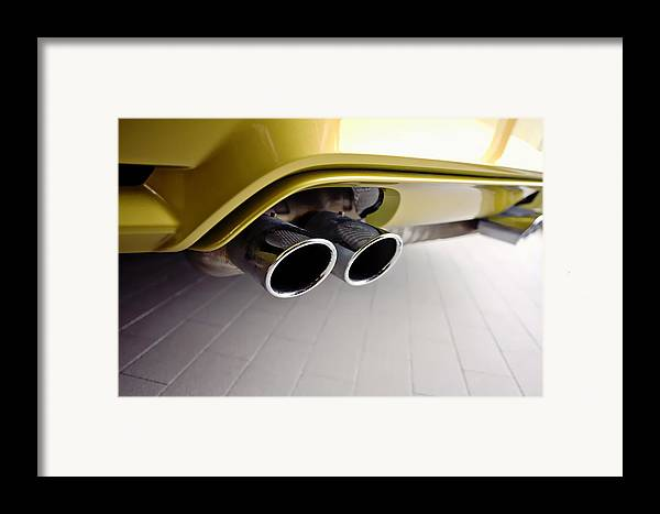 2015 Bmw M4 Framed Print featuring the photograph 2015 Bmw M4 Exhaust by Aaron Berg