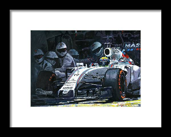 Painting Framed Print featuring the painting 2015 Williams Fw37 F1 Pit Stop Spain Gp Massa by Yuriy Shevchuk