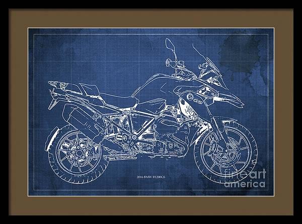2016 BMW R1200GS Blueprint Blue Background by Drawspots Illustrations