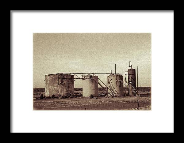Drillers Club Framed Print featuring the photograph 2016_10_pecos Tx Battery Tanks 1 by Brian Farmer