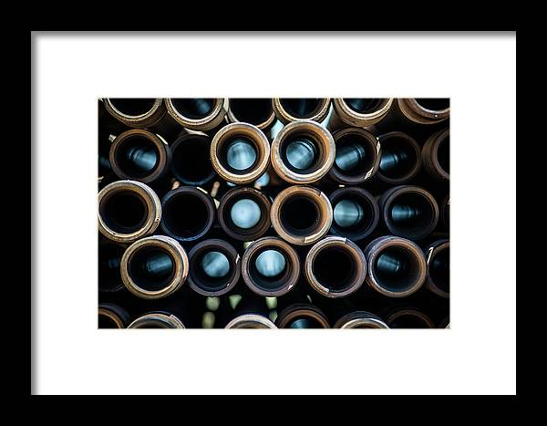 Drillers Club Framed Print featuring the photograph 2017_05_drill Pipe Lights 1 by Brian Farmer