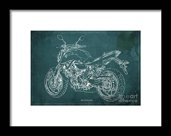 2018 Yamaha Mt07 Framed Print featuring the digital art 2018 Yamaha Mt07 Blueprint Green Background Fathers Day Gift by Drawspots Illustrations
