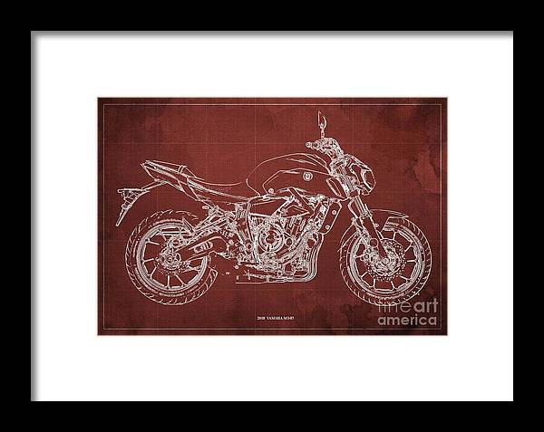 2018 Yamaha Mt07 Framed Print featuring the digital art 2018 Yamaha Mt07 Blueprint Red Background Fathers Day Gift by Drawspots Illustrations