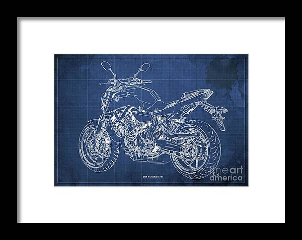 2018 Yamaha Mt07 Framed Print featuring the digital art 2018 Yamaha Mt07,blueprint,blue Background,fathers Day Gift, 2018 by Drawspots Illustrations