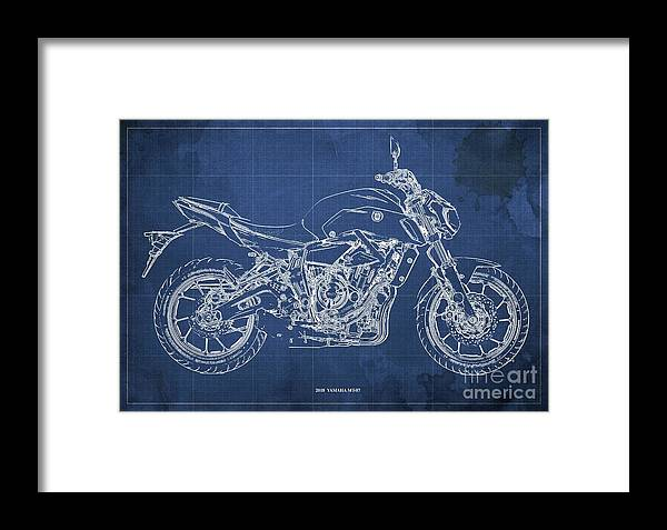 2018 Yamaha Mt07 Framed Print featuring the digital art 2018 Yamaha Mt07,blueprint,blue Background,fathers Day Gift by Drawspots Illustrations