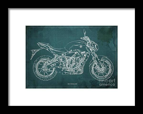 2018 Yamaha Mt07 Framed Print featuring the digital art 2018 Yamaha Mt07,blueprint,green Background,fathers Day Gift,2018 by Drawspots Illustrations
