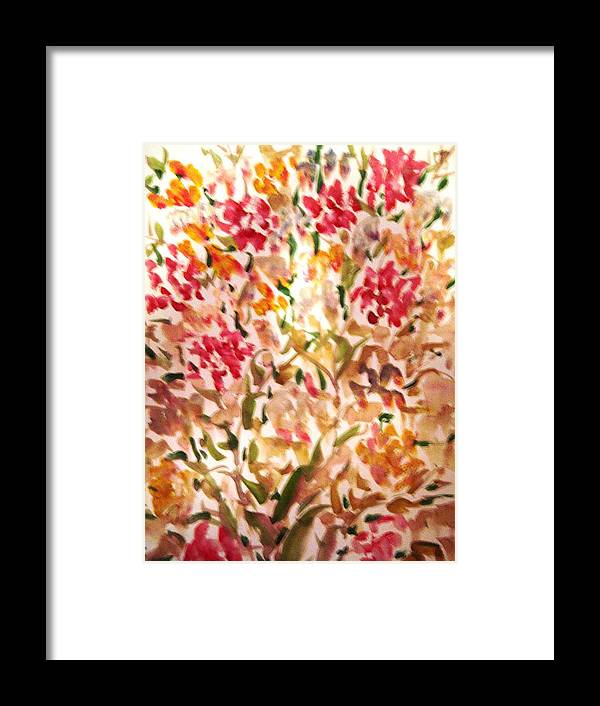 Flowers Framed Print featuring the painting Flowers by Baljit Chadha
