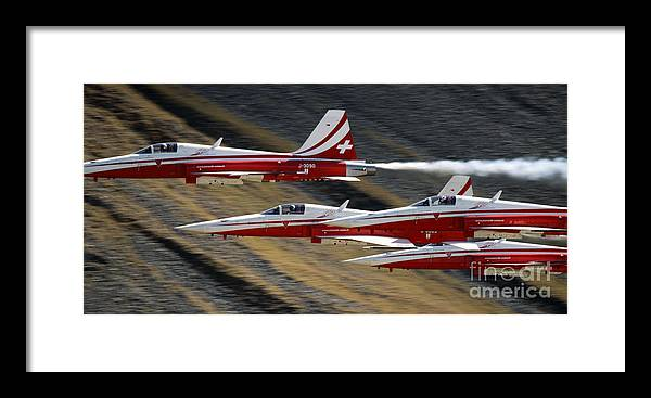 Patrouille Suisse Framed Print featuring the photograph Patrouille Suisse by Angel Ciesniarska