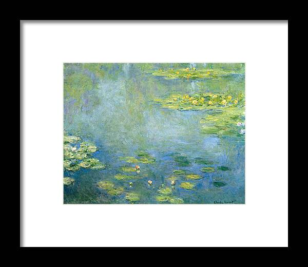 Claude Monet Framed Print featuring the painting Waterlilies by Claude Monet