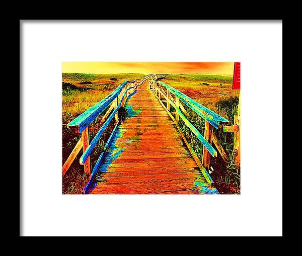 Endless Landscape Framed Print featuring the painting 2355z Wooden Walkway by Ed Immar