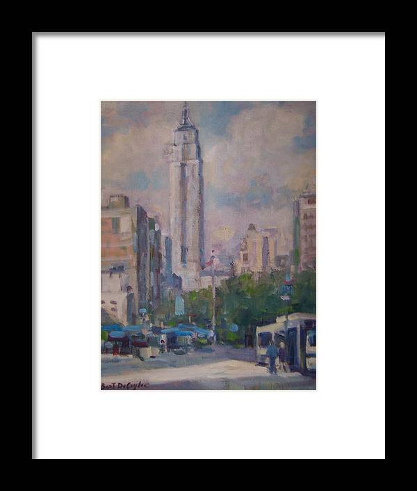 23rd St Looking North At Empire Building Framed Print featuring the painting 23rd St by Bart DeCeglie