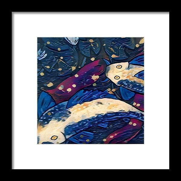 Framed Print featuring the digital art Koi Fish by Melinda Sullivan Image and Design