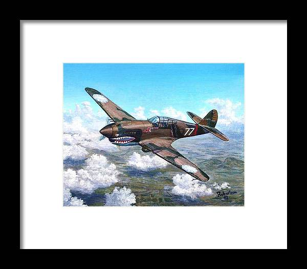 R. T. Smith's Number 77 Over Kunming Framed Print featuring the painting Flying Tiger Over China by Scott Robertson