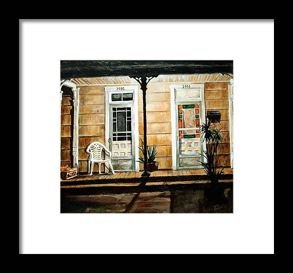 Night Scene Framed Print featuring the painting 2446- 2444 by Thomas Akers