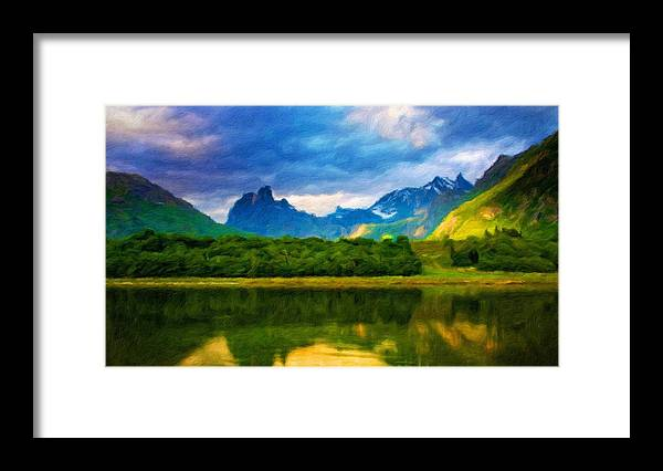 Landscape Framed Print featuring the painting Nature Art Landscape by World Map