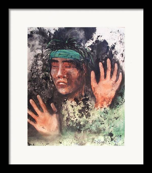 Native American Framed Print featuring the painting 250ml by Ernie Scott- Dust Rising Studios