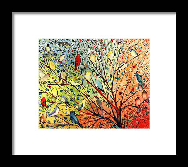 Bird Framed Print featuring the painting 27 Birds by Jennifer Lommers