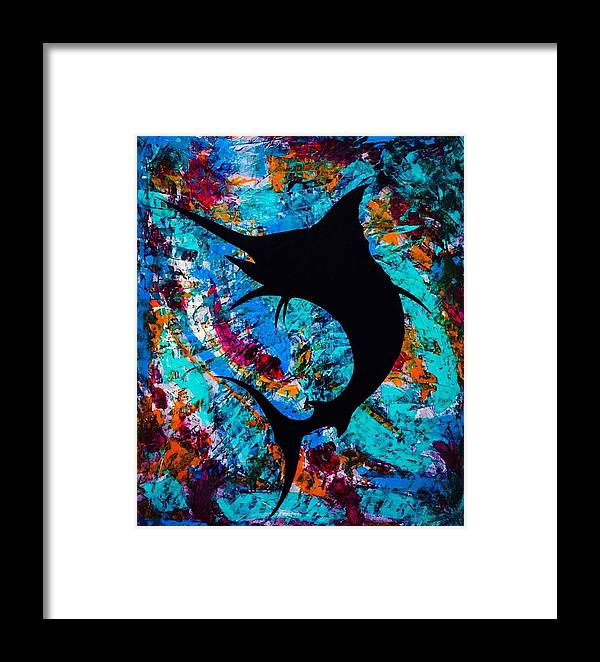 Salty Marlin Framed Print featuring the painting Salty Marlin by Barry Knauff