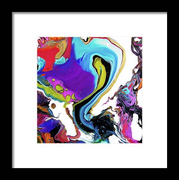 Vibrant Colorful Startling Fun Modern Contemporary Modern Fluid-acrylics Dynamic Compelling Abstract Blue Turquoise Purple Framed Print featuring the painting #2882 Swish by Expressionistart studio Priscilla Batzell