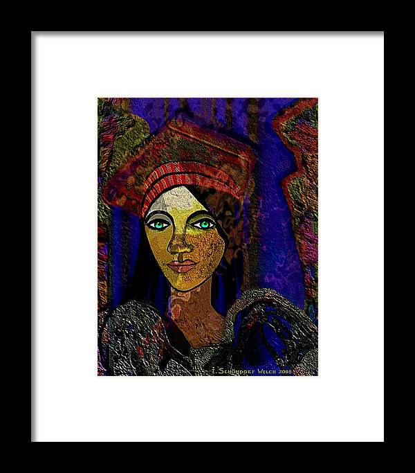 Woman Framed Print featuring the painting 299 - Woman With Red Hat  by Irmgard Schoendorf Welch