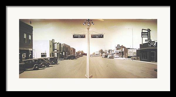 Mural Framed Print featuring the painting 2nd St. 1930 And Route 66 1950 by Doug Quarles