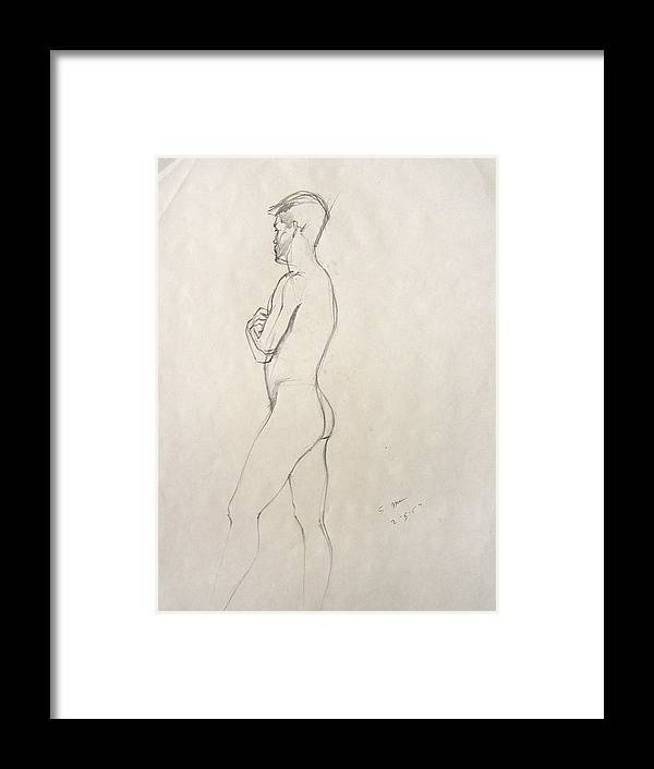 Figure Composition With Live Model Framed Print featuring the drawing Untitled 3 by Howard Stroman