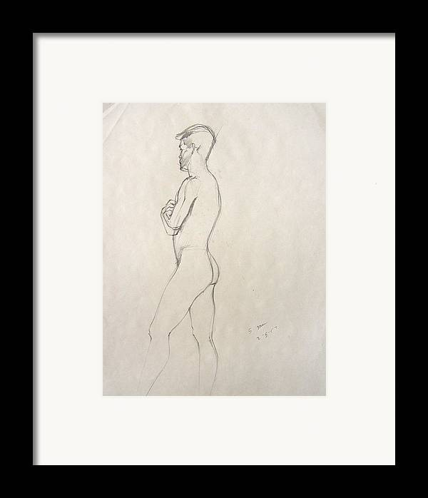 Figure Composition With Live Model Framed Print featuring the drawing Untitled by Howard Stroman